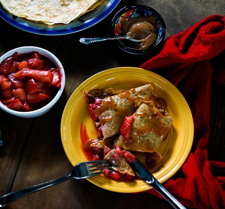 Crepes with Strawberries and cajeta or Mexican goat milk caramel sauce