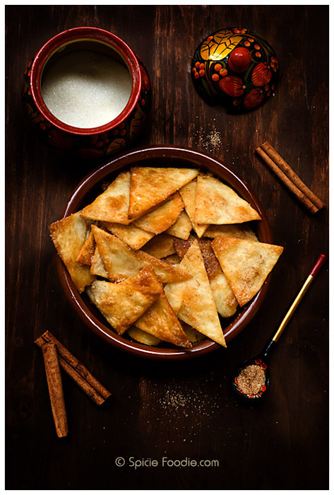 Vegetarian Cinnamon Sugar Tortilla Chips, using leftover flour tortillas