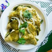 Enchiladas Verdes with Stringy Oaxaca Cheese and Fire Roasted Poblano Pepper