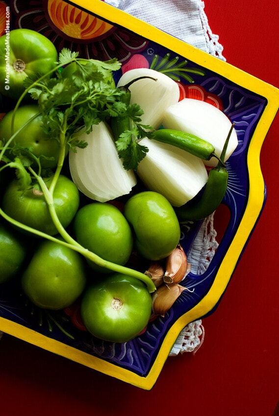 Ingredients for Making Mexican Salsa Verde