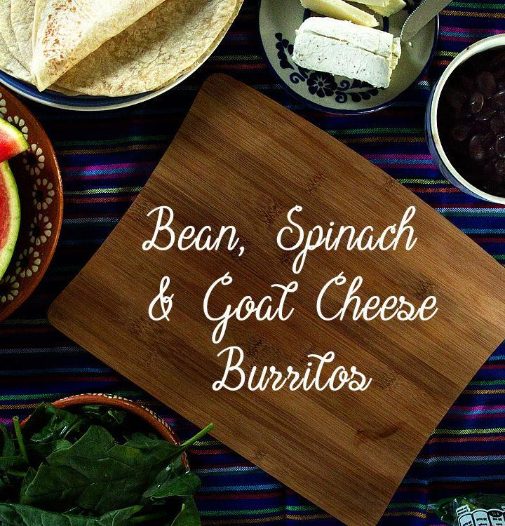 Black Bean, Spinach & Goat Cheese Burritos | A easy and healthy meatless lunch