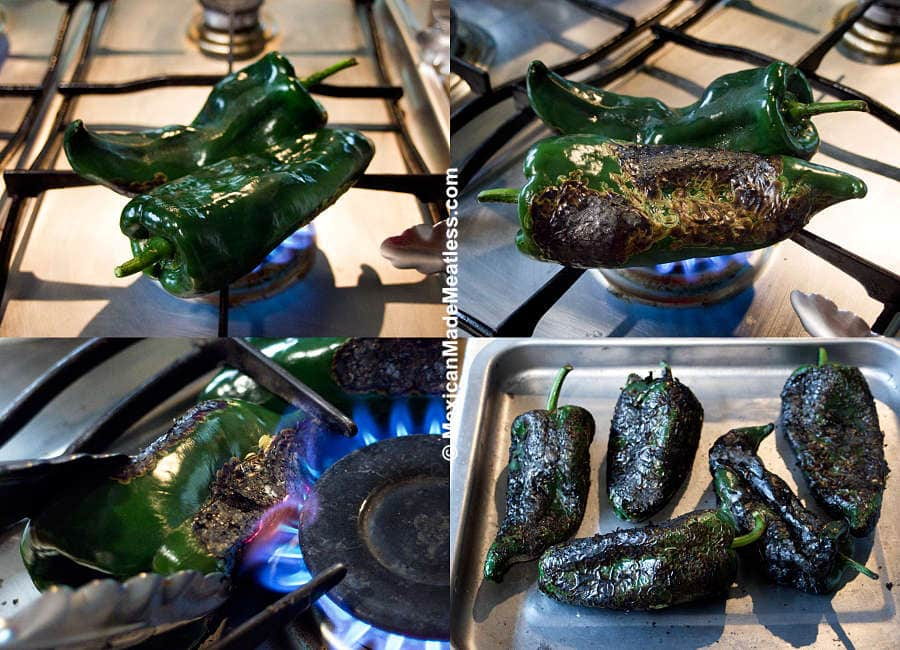 How to fire roast poblano peppers