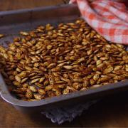 Oven cooked pumpkin seeds in their shell