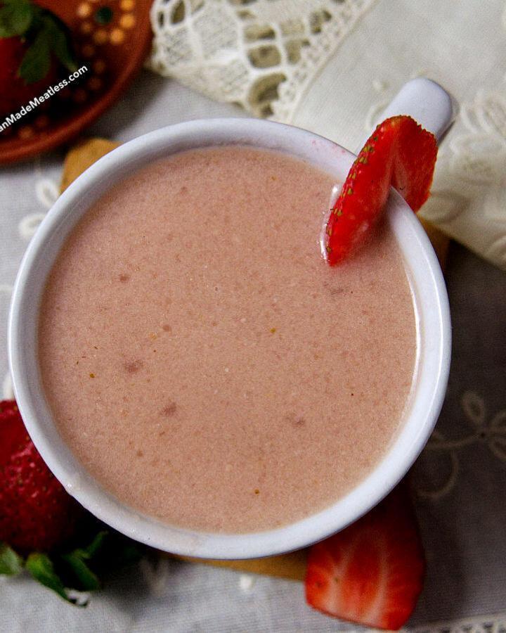 How to Make Strawberry Atole with Masa Harina   Atole de fresas con masa