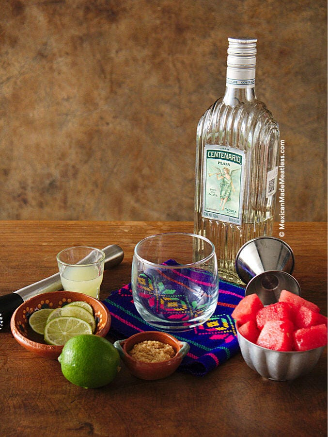 Ingredients for making a watermelon cocktail.