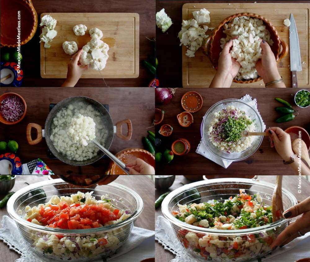 Steps for making cauliflower ceviche or ceviche de coliflor