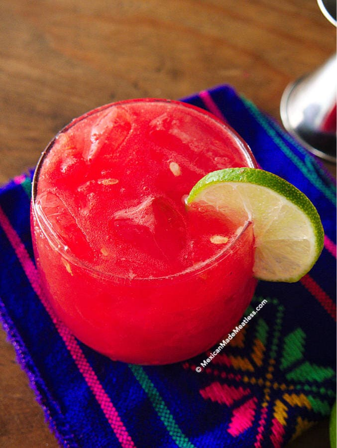 Spiked watermelon limeade with blanco tequila.