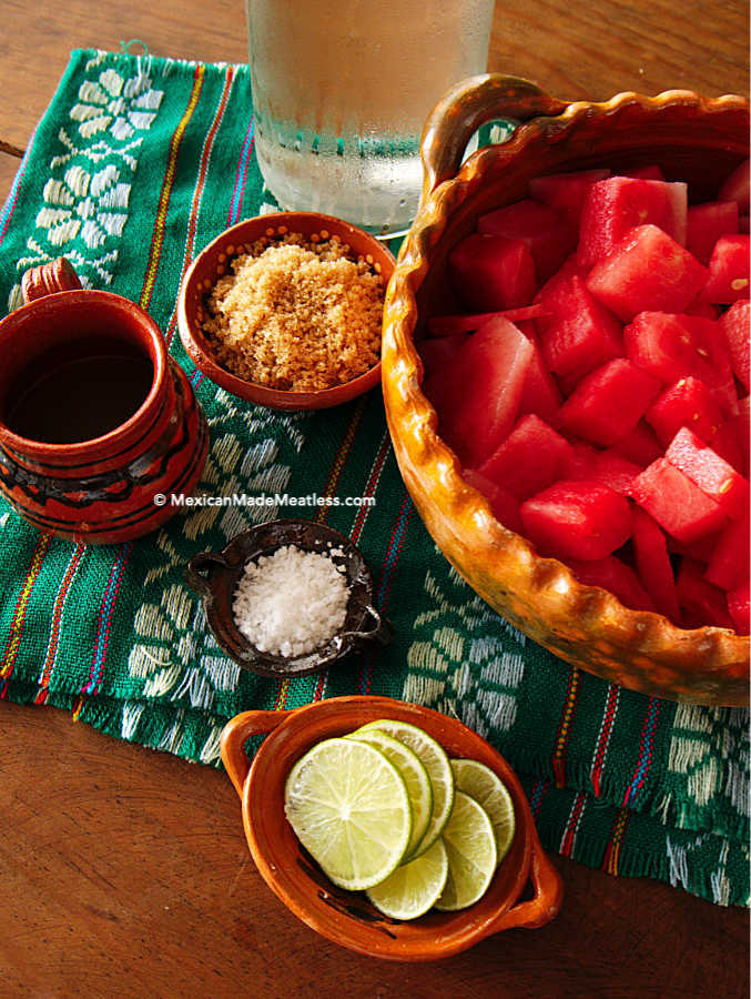Ingredients for making watermelon agua fresca