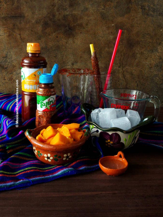All the ingredients needed to make a chamoyada or mangonada.