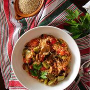 Vegan recipe for quinoa with nopales