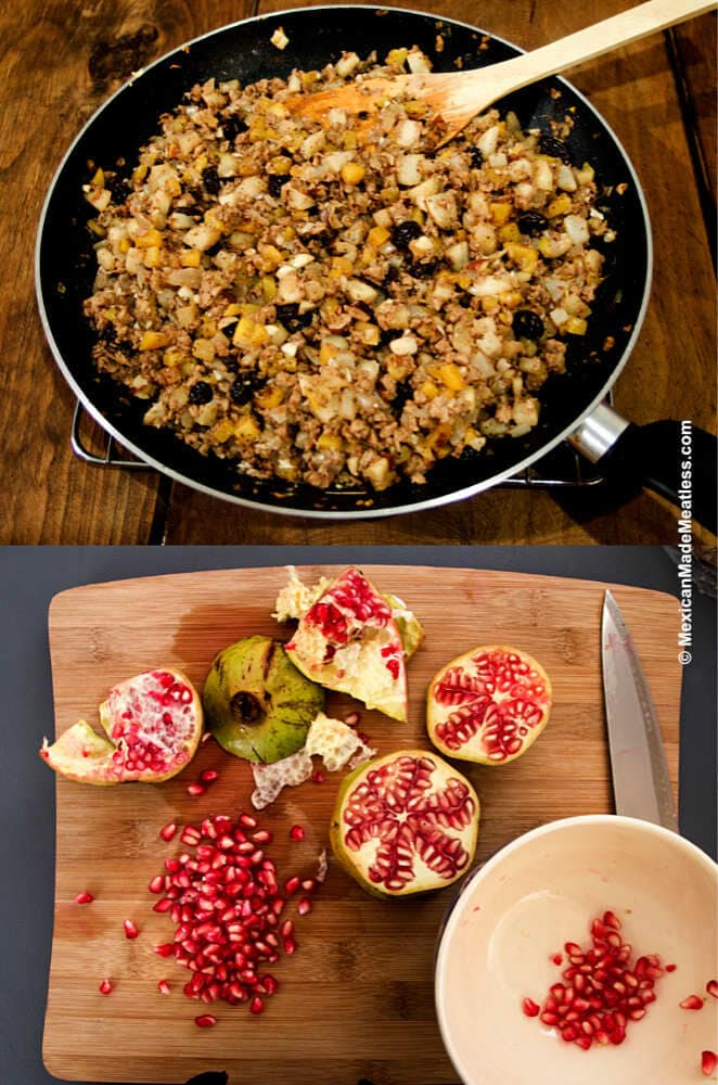 Ingredients for making vegetarian chiles en nogada