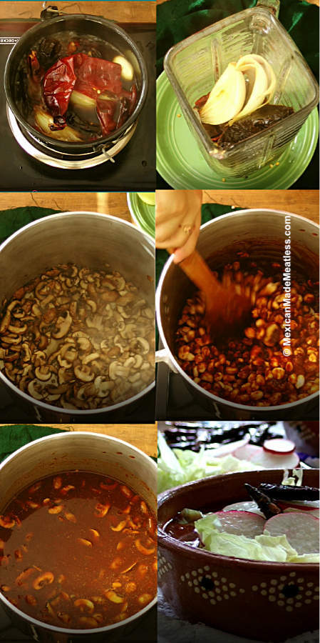How to make easy mushroom red pozole