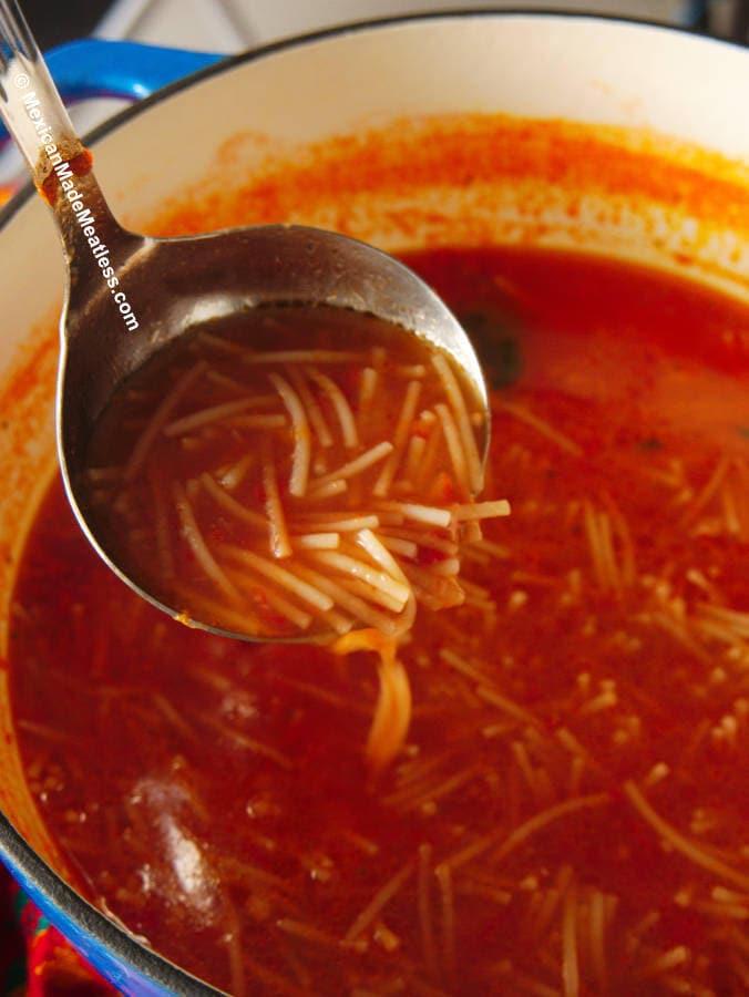 Mexican Vegan Sopa de Fideo or Noodle Soup