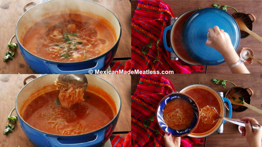 Recipe for cooking Mexican Sopa de Fideo or noodle soup