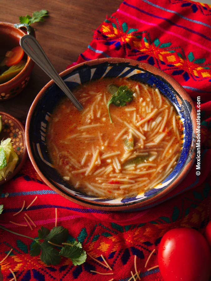 Recipe for Sopa de Fideo with All the Toppings