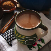 Champurrado is a thick chocolate drink from Mexico. It's a hearty drink made with chocolate, canela, piloncillo and thickened with masa.