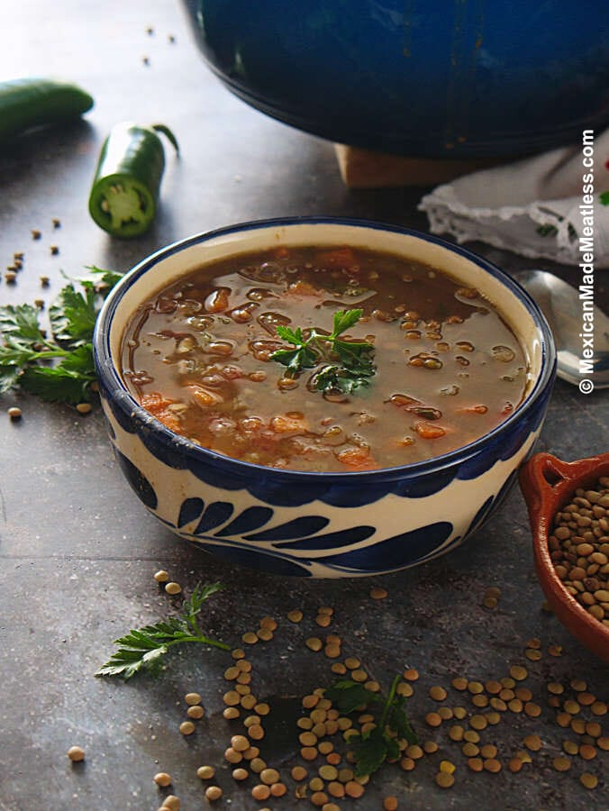 Mexican Lentil Soup Recipe (vegan)