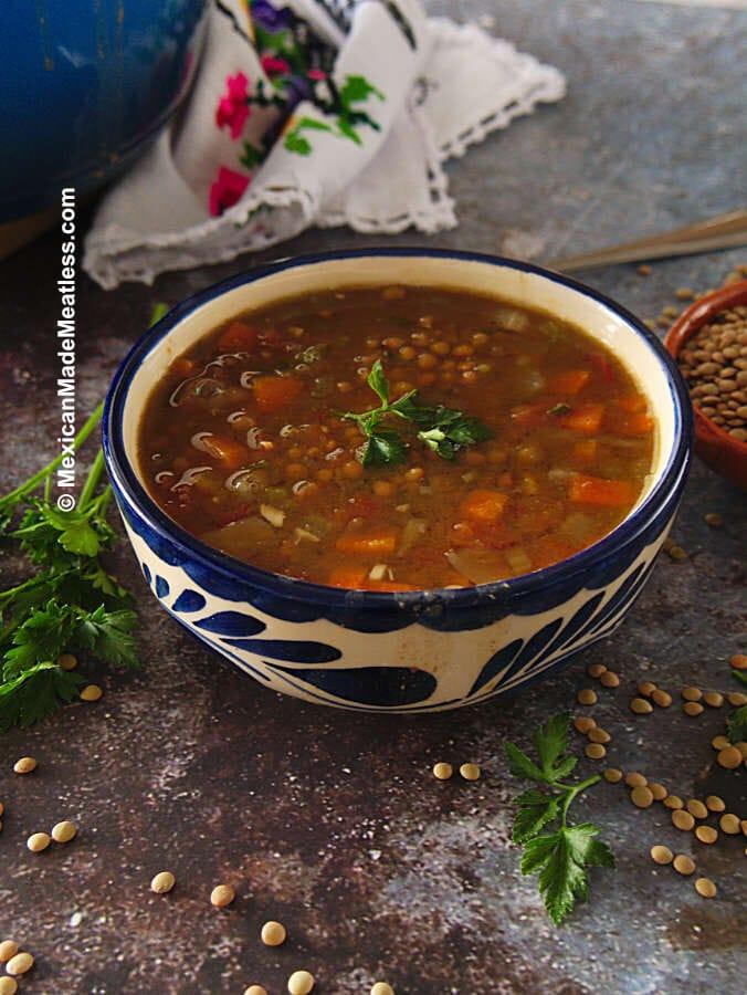 Vegan Lentil Soup Recipe The Mexican Way