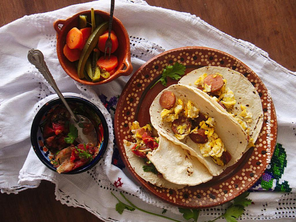 Breakfast Tacos served with homemade salsa
