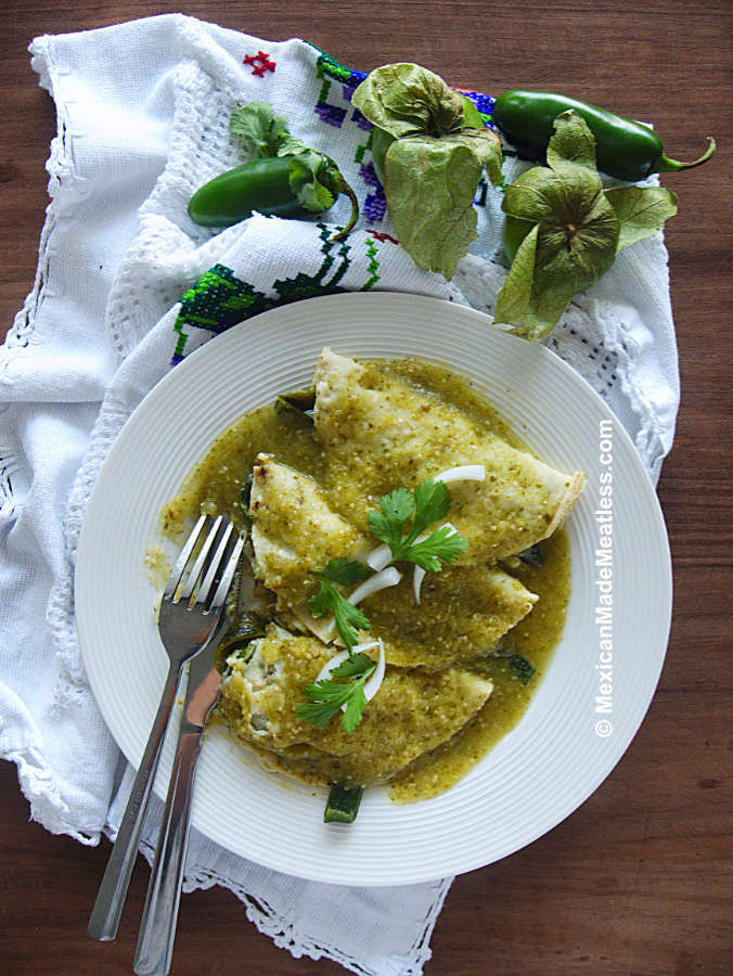 Enchiladas Verdes with Vegetarian Stuffing