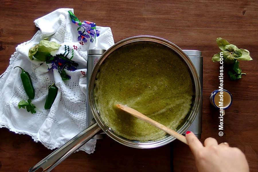 Frying Salsa Verde