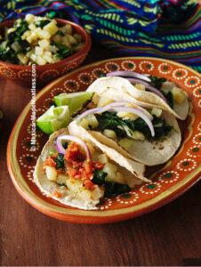 Soft Potato Tacos with Spinach