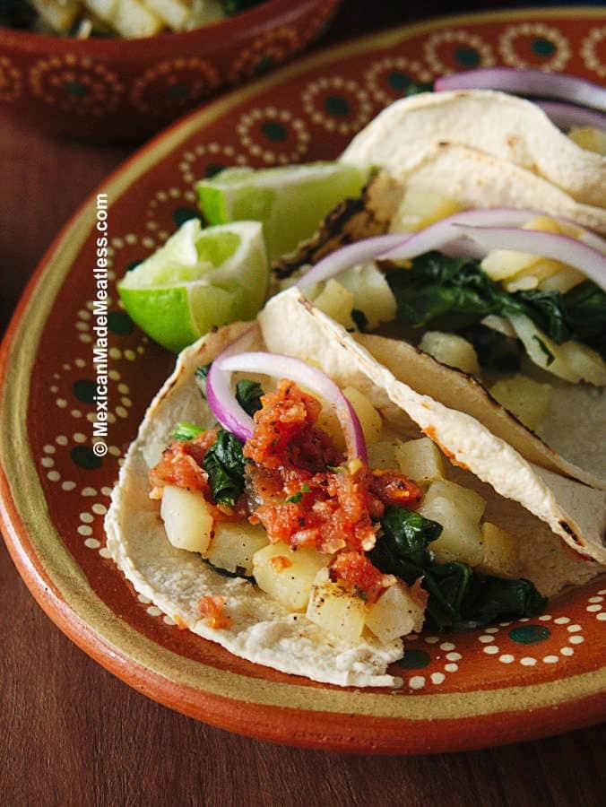 Delicious vegan potato tacos