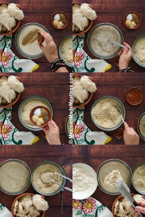 Steps for battering air fried vegan chicken