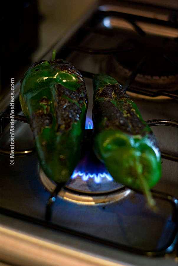 Poblano Peppers Roasting On The Stove