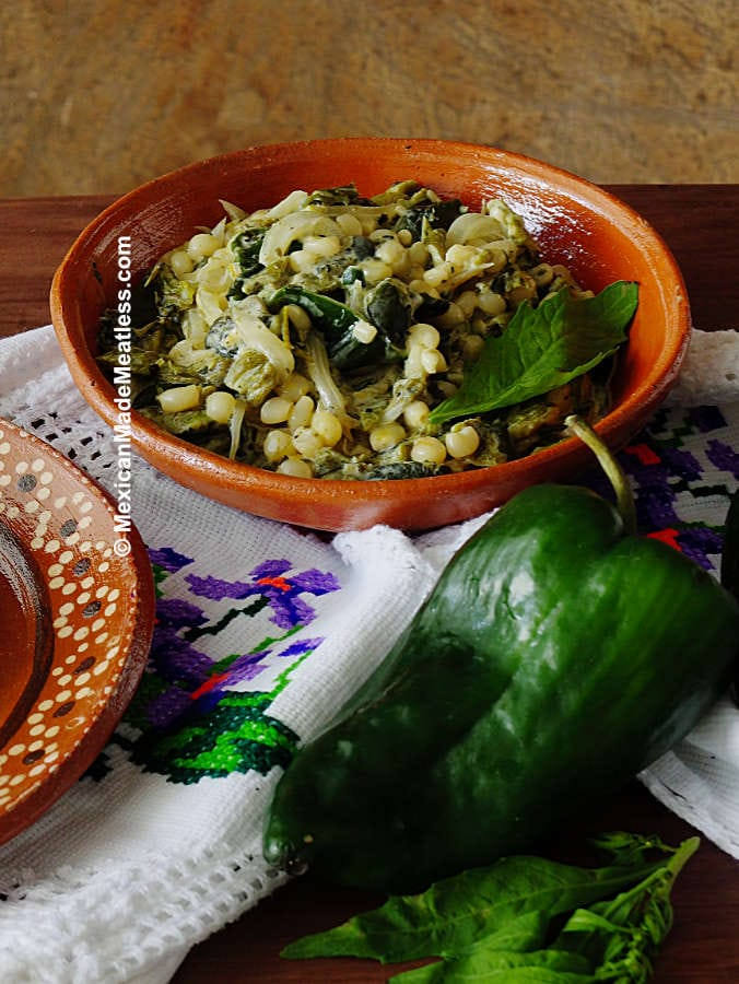 Mexican roasted poblano peppers in cream sauce