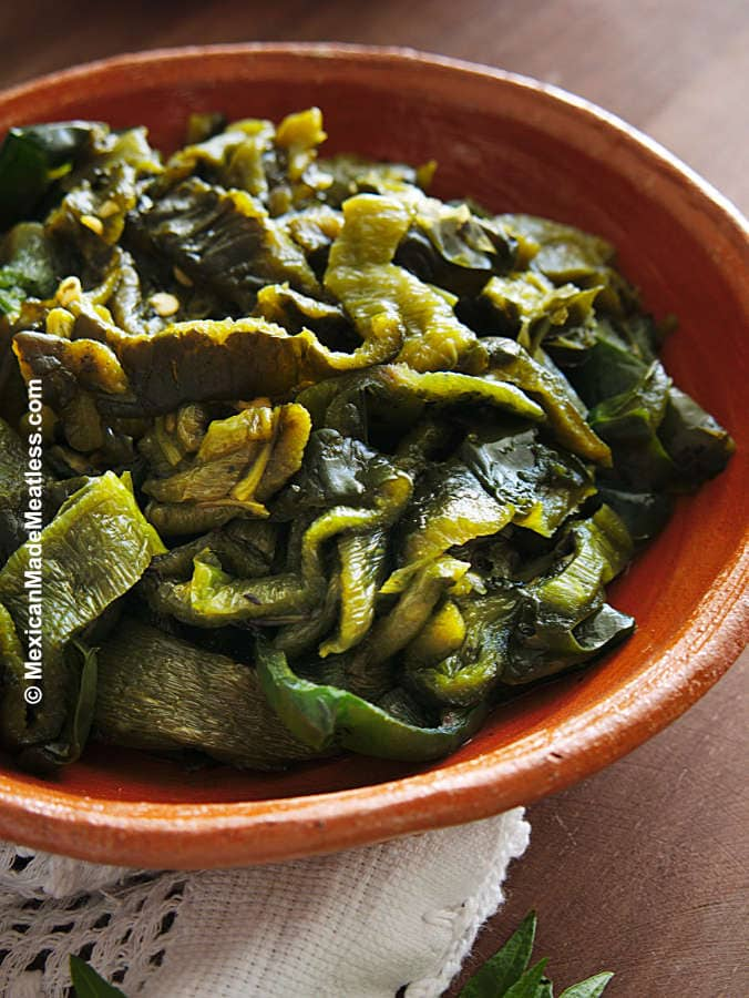 Roasted poblano peppers cut into strips