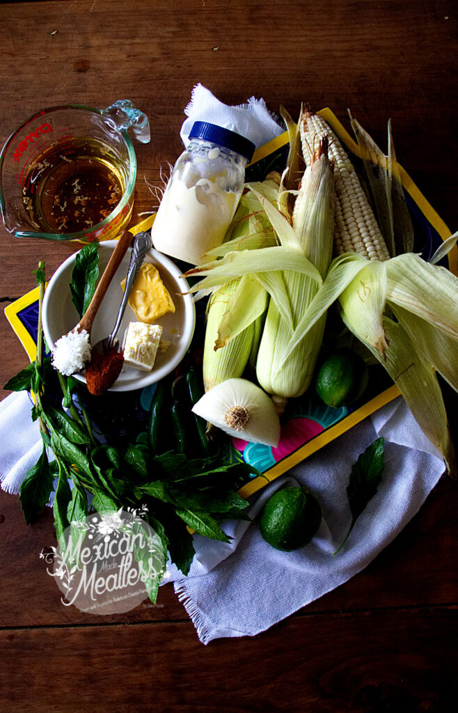 Ingredients used to make esquites or Mexican corn in a cup