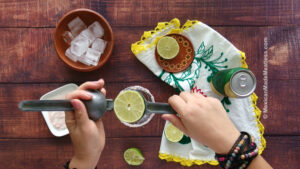 Freshly squeezed lime juice into the glass