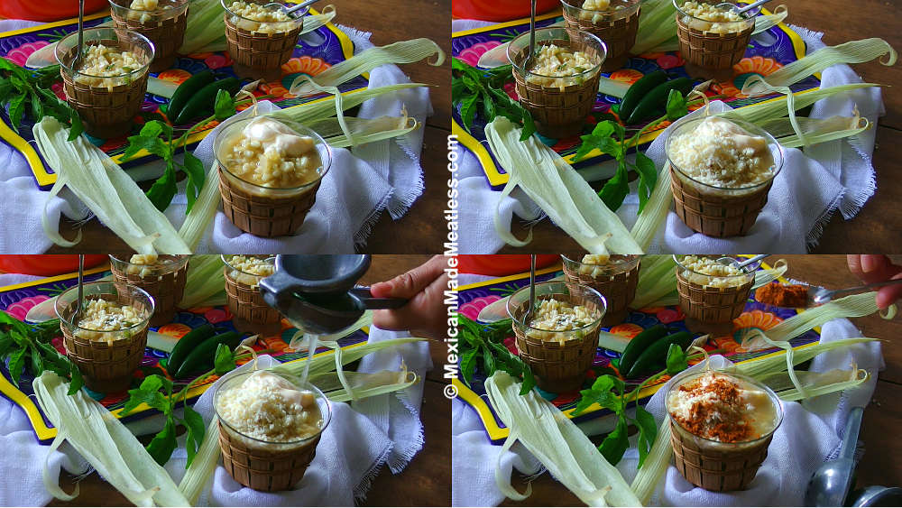 How to top Mexican corn in a cup