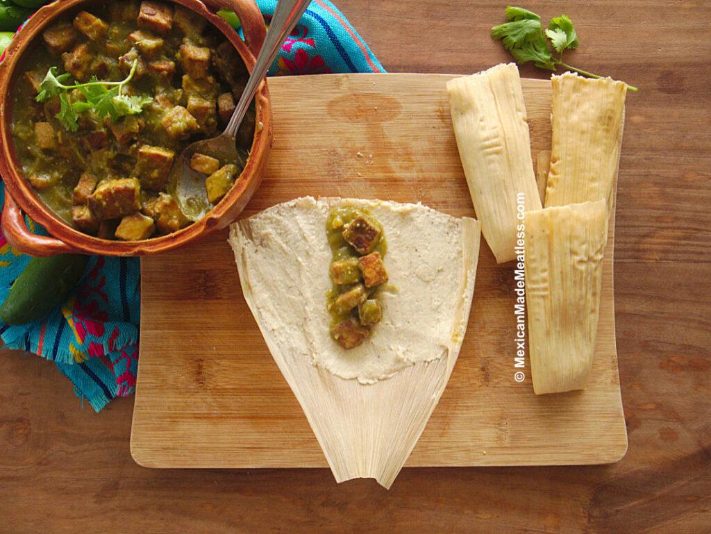 Vegan Tamales Stuffed with Tofu Chicharron