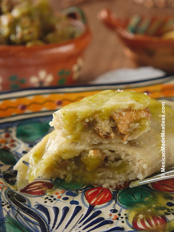 Vegan Tamales with Tofu in Salsa Verde